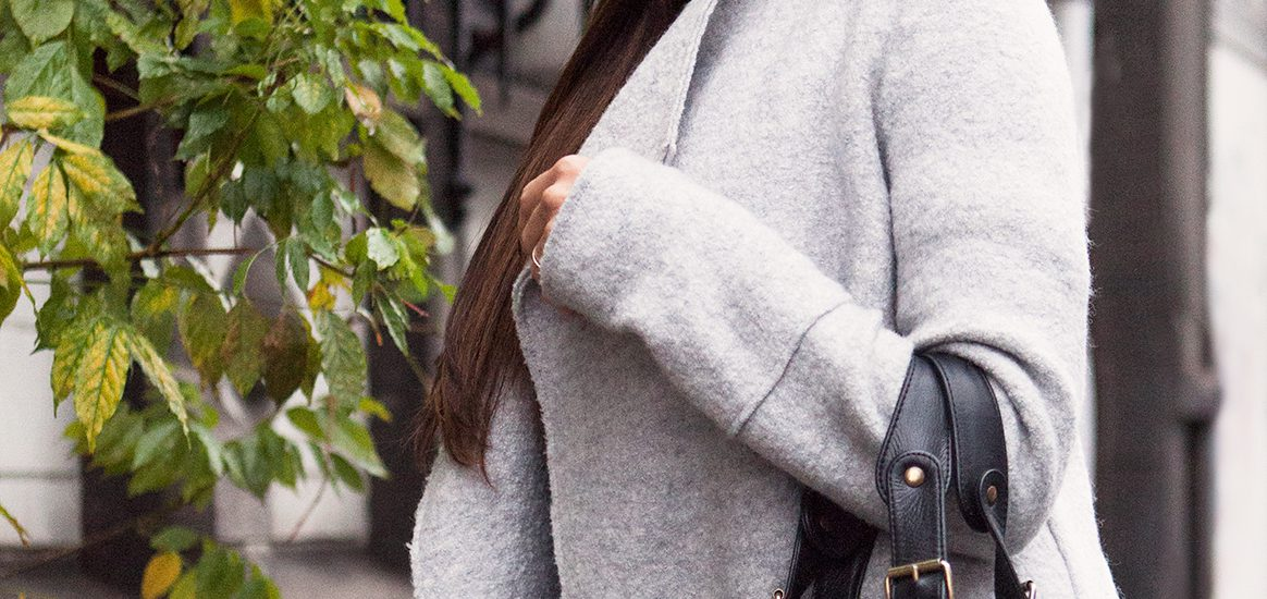 December look, Jennifer in a fabulous grey coat from Zara pared with black.