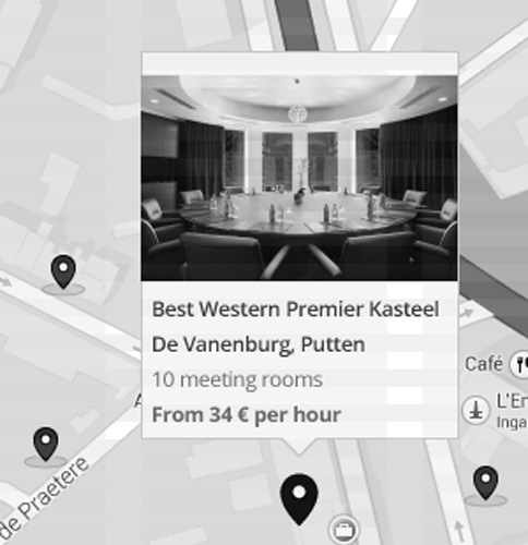 book2meet case study: venue on map, wireframe by graphility