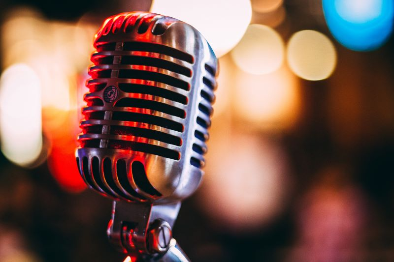 Digital audio advertising: Bokeh photography of condenser microphone